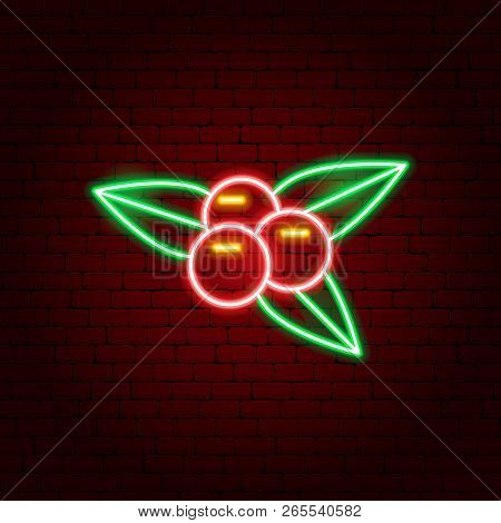 Rowanberry Neon Sign. Vector Illustration Of Fall Nature Promotion.