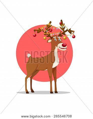 Christmas Deer Cartoon Character. Santas Reindeer. Smiling Dasher, Dancer, Prancer, Vixen, Comet, Cu
