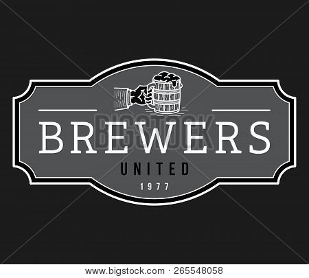 Beer Brewers United House White On Black Is A Vector Illustration About Drinking