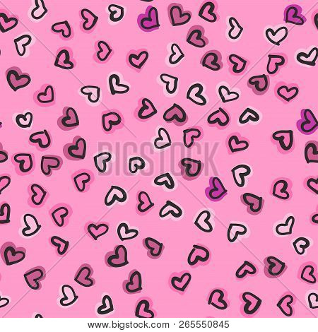 Seamless Pattern With Hand Drawn Hearts. Happy Valentine S Day Greeting Card. Vector Illustration Wi