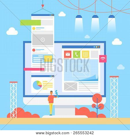 Monitor Of Computer And Man Holding Facebook Sign, Social Media Placement Into Web Pages, Internet S