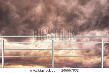 Chrome , Stainless Steel , Inox Fence Or Alu Fence. Aluminum Fence With Clouds Sky Background. 3d Il