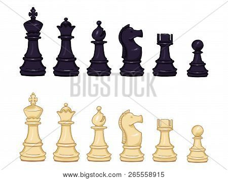 Vector Set Of Cartoon Black And White Chess Pieces.