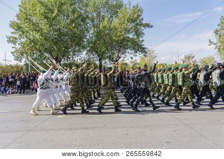 Thessaloniki, Greece - October 28 2018: Oxi Day Greek Army Parade.march During National Day Celebrat