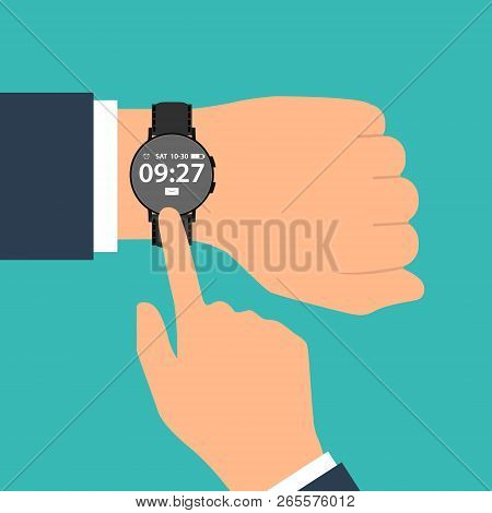 Smart Watch On The Hand Of Businessman In Suit. Time On Wrist Watch. Man With Clock Checks The Time.