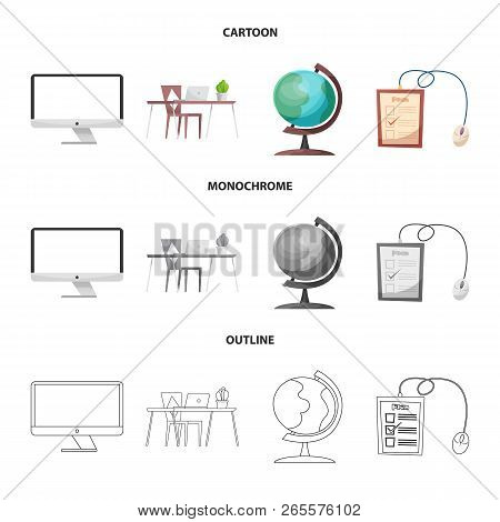 Vector Illustration Of Education And Learning Symbol. Collection Of Education And School Stock Vecto