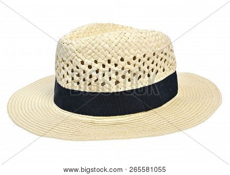 Panama Hat, Traditional Summer Hat With Black Hatband Or Ribbon, Isolated On White Background. Cut O