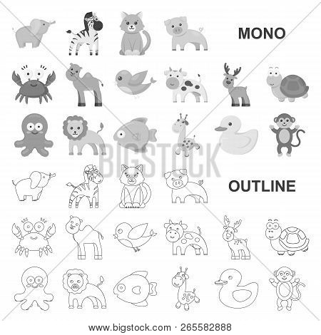 An Unrealistic Monochrom Animal Icons In Set Collection For Design. Toy Animals Vector Symbol Stock