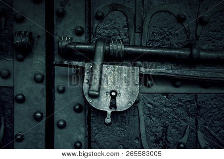 Old Security Padlock, Protection Detail, Lock In The Door