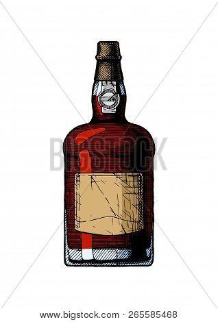 Vector Hand Drawn Illustration Of Port Wine Bottle, Type Of Portuguese Dessert Wine In Vintage Engra