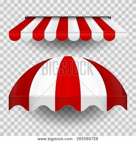 Commercial Canopy Awning Series. Vector Pop Up Store. Straight And Dome Striped Awnings With Shadows