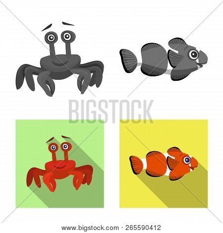 Isolated Object Of Sea And Animal Icon. Set Of Sea And Marine Stock Vector Illustration.