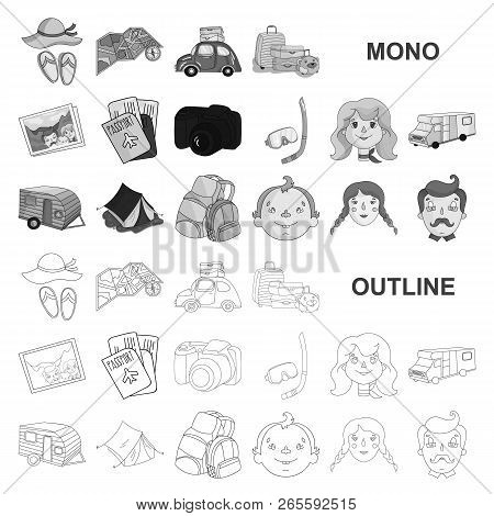 Family Holiday Monochrom Icons In Set Collection For Design. Recreation And Equipment. Vector Symbol