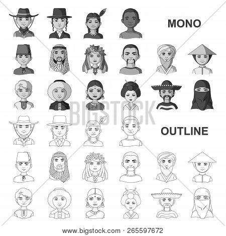 The Human Race Monochrom Icons In Set Collection For Design. People And Nationality Vector Symbol St