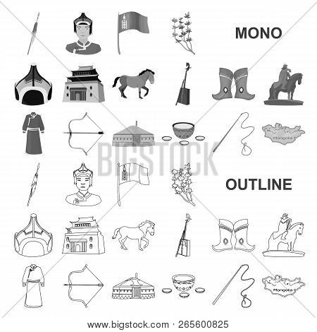 Country Mongolia Monochrom Icons In Set Collection For Design.territory And Landmark Vector Symbol S