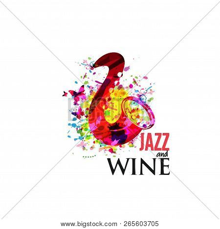 Music Colorful Background With Saxophone Flat Vector Illustration. Artistic Music Festival Poster, L