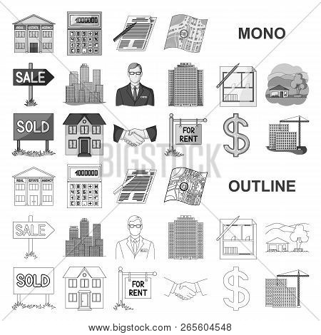 Realtor, Agency Monochrom Icons In Set Collection For Design. Buying And Selling Real Estate Vector