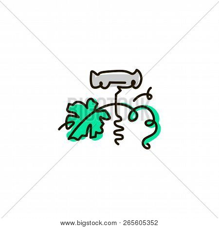 Vector Line Icon. Corkscrew. One Line Drawing. Isolated On White Background. Continuous Single One D
