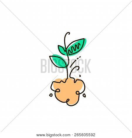 Vector Line Icon. Sprout. Gardening. One Line Drawing. Isolated On White Background. Continuous Sing