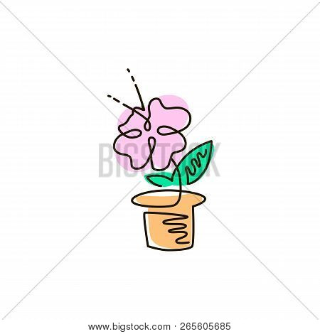 Vector Line Icon. Flower In A Pot. Gardening. One Line Drawing. Isolated On White Background. Contin