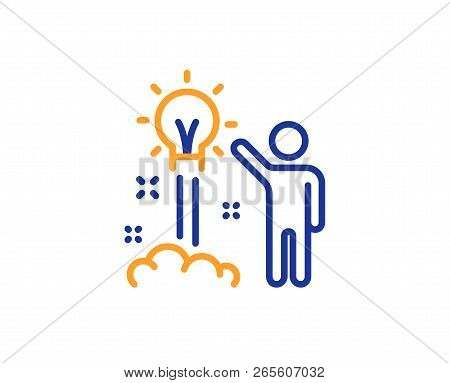 Creative Idea Line Icon. Human Launch Startup Sign. Inspiration Symbol. Colorful Outline Concept. Bl