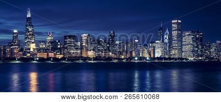 Famous View Of Chicago Skyline By Night, Usa.