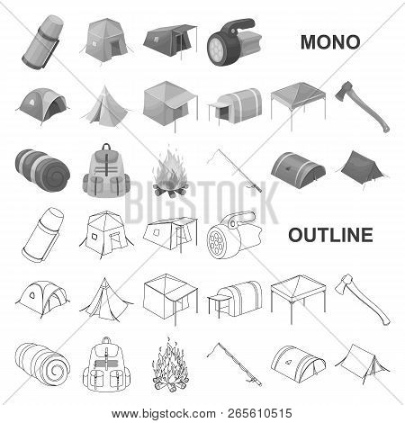 Different Kinds Of Tents Monochrom Icons In Set Collection For Design. Temporary Shelter And Housing