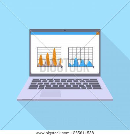 Finance Laptop Icon. Flat Illustration Of Finance Laptop Vector Icon For Web Design