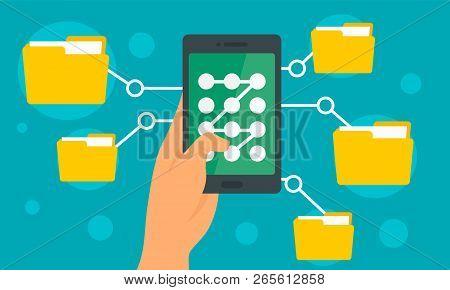 Smartphone File Folder Concept Background. Flat Illustration Of Smartphone File Folder Vector Concep