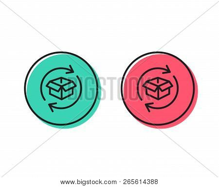 Exchange Of Goods Line Icon. Return Parcel Sign. Package Tracking Symbol. Positive And Negative Circ
