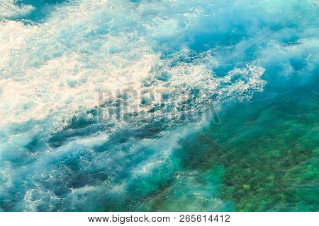 Aerial View Ocean With Waves Background. Marine Background Texture Of Blue Sea In Indian Ocean. Copy