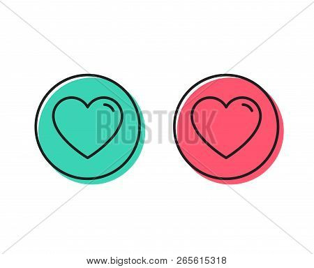 Heart Line Icon. Love Sign. Valentines Day Sign Symbol. Positive And Negative Circle Buttons Concept