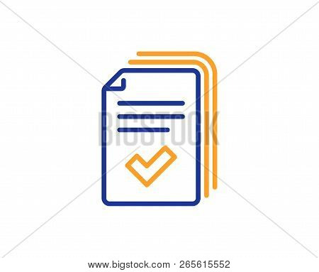 Handout Line Icon. Documents Example Sign. Colorful Outline Concept. Blue And Orange Thin Line Color