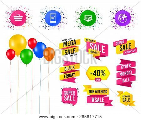 Balloons Party. Sales Banners. Online Shopping Icons. Smartphone, Shopping Cart, Buy Now Arrow And I
