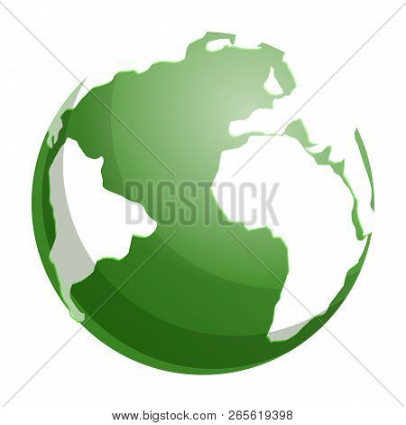 Green Globe Earth Icon. Cartoon Of Green Globe Earth Vector Icon For Web Design Isolated On White Ba