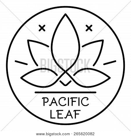 Cannabis Pacific Leaf Logo. Outline Cannabis Pacific Leaf Vector Logo For Web Design Isolated On Whi