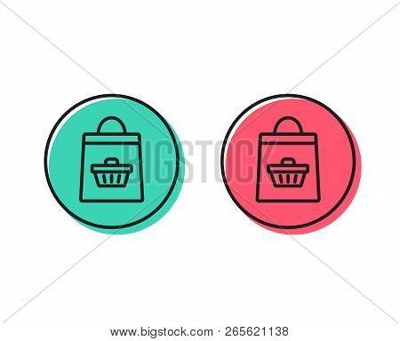Shopping Bag With Cart Line Icon. Supermarket Buying Sign. Sale Symbol. Positive And Negative Circle