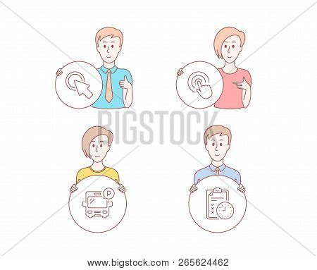 People Hand Drawn Style. Set Of Click, Bus Parking And Click Here Icons. Exam Time Sign. Cursor Poin