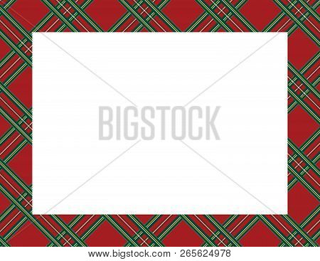 Plaid Tartan Frame To Use As A Background For Winter, Holiday Or Woodsy Themes