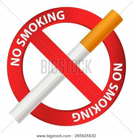 No Smoking Icon. Realistic Illustration Of No Smoking Vector Icon For Web Design Isolated On White B