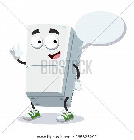 Cartoon Joyful Two Compartment Refrigerator Mascot With A Speech Bubble