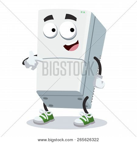 Cartoon Two Compartment Refrigerator Mascot Showing Himself