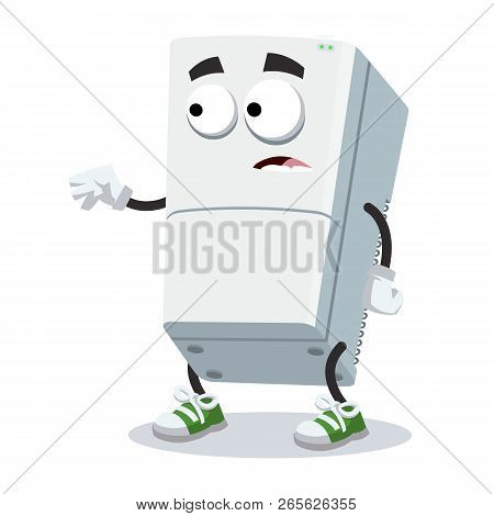 Cartoon Scared Two Compartment Refrigerator Mascot In Sneakers