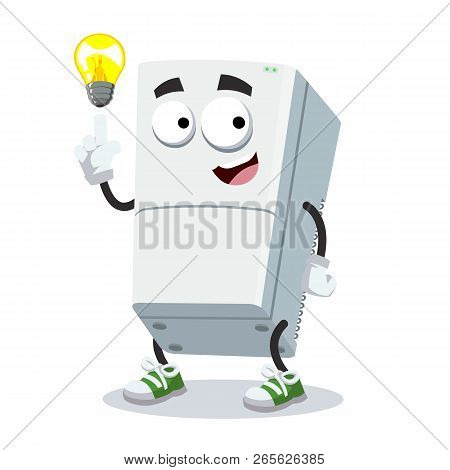 Cartoon Have An Idea Two Compartment Refrigerator Mascot