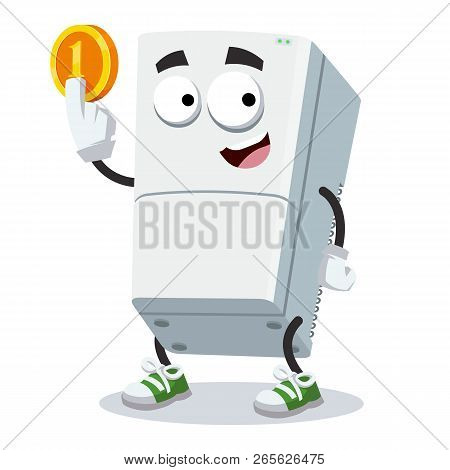 Cartoon Two Compartment Refrigerator Mascot Keeps The Coin