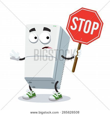 Cartoon Two Compartment Refrigerator Mascot With Tablet Stop In Hand