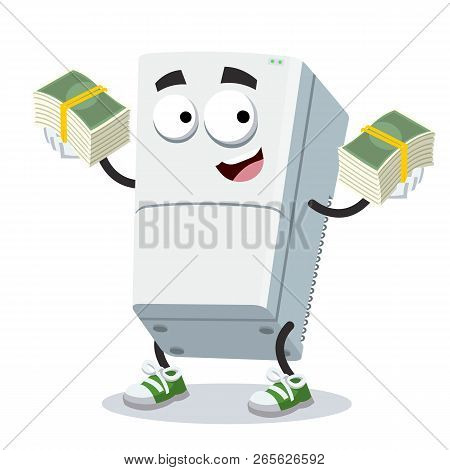 With A Pile Of Money Cartoon Two Compartment Refrigerator Character Mascot