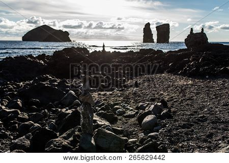 Rocks At The Coast In Mosteiros, Sao Miguel Island, Azores, Portugal