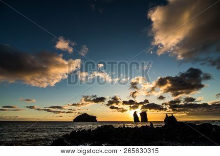 Amazing View Of Sunset Over Mosteiros Beach Sao Miguel, Azores Islands