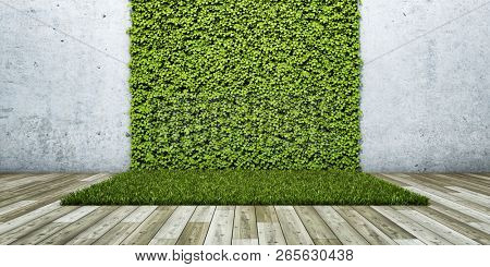 Inner courtyard with green fresh vertical garden and concrete wall. 3D illustration.